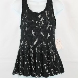 Free People Knit Tank Top Small Black White NEW